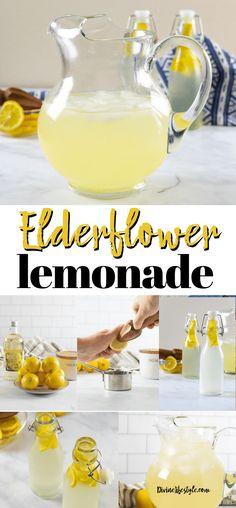 Elderflower Lemonade Recipe Healthy Coffee Drinks, Healthy Cocktails, Fun Cocktails, Healthy Smoothies, Cocktail And Mocktail, Lemonade Cocktail, Elderflower Drink