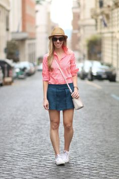 Peach Pop: neon color button-down, J. Crew linen skort, straw fedora, white Converse sneakers, Brahmin 'Mini Duxbury', skort outfit, neon color summer outfit, skirt and Converses