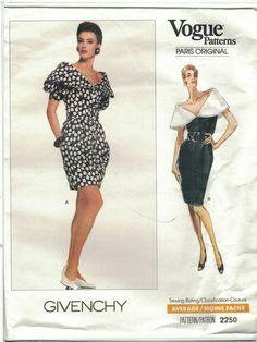 98f5c9d35d14d Vogue 2250 Givenchy Pattern 80s Capelet Collar Cocktail Dress Choose Size  Uncut #VoguePatterns Vogue Patterns