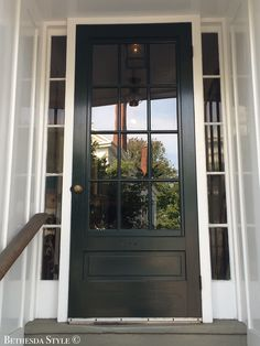 #BethesdaStyle ~ Glass Front Door ~ Sidelights ~ Nantucket, MA Main Entrance, Entrance Doors, Door Entry, Front Doors With Windows, Glass Front Door, Farmhouse Renovation, House Doors, New Home Designs, Window Ideas