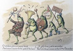 Cjristmas, Inc. a brief history of holiday cards. Christmas card by Louis Prang, showing a group of anthropmorphized frogs parading with banner and band.