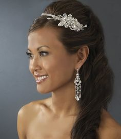 Crystal and Rhinestone Headband and earrings - beautiful for Prom!