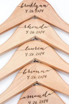 Engraved hangers for bridesmaids. 10 Fabulous Bridesmaid Gifts on @intimatewedding Hangers by WillowGraceBridal on Etsy #bridesmaidgifts #bridesmaids #weddingideas