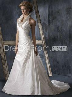 Glamorous A-Line Halter Floor-Length Chapel Train Pleats Wedding Dresses