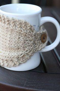 Knitted mug cozy. I