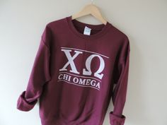 New Chi Omega Maroon Stripe Crewneck Sweatshirt by WildKardVintage