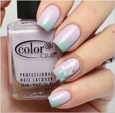 Pastel Diagonal Gradient Nails with Flower Accent