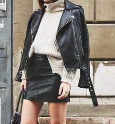 This outfit is so edgy, yet at the same time comfy! I love the idea of pairing a leather jacket with a knit sweater! It looks really cute and it works for fall weather!