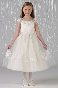 love the top MagicMomentsCollections.com | Joan Calabrese 212370 Flower Girl / Communion Dress