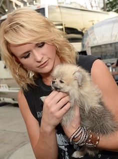 Blonde with her fluffball