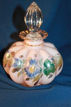 Fenton Hand Painted Perfume Bottle, Milk Glass, Melon w/ Gold Accents