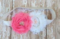Pink and White Shabby Chic Headband Newborn by LaBandeauxBowtique, $7.50