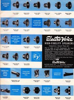 Electro Voice home hi-fi drivers line up  1957