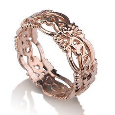 Handmade 14K rose gold mesh ring by SaraGershonJewelry on Etsy, $560.00