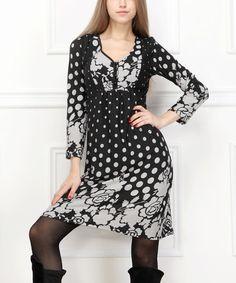 Another great find on #zulily! Black & Gray Floral Polka Dot Empire Waist Dress #zulilyfinds
