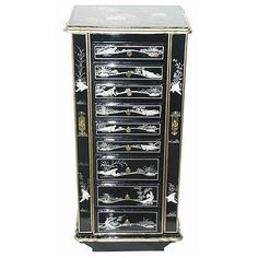 Oriental Furniture Chinese Birds and Flowers Jewelry Armoire with Mirror