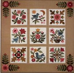 Primitive Folk Art Quilt Pattern - Lydias Pride by From My Heart to Your Hands Wool or Cotton Floral Applique Small Wall hanging Motifs Applique Laine, Applique Quilt Patterns, Hand Applique, Felt Applique, Applique Wall Hanging, Quilted Wall Hangings, Wool Quilts, Barn Quilts, Appliqué Quilts