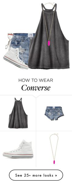 """""""go the extra mile. it's never crowded."""" by elizabethannee on Polyvore featuring Abercrombie & Fitch, RVCA, Kendra Scott, Converse, Kevyn Aucoin, women's clothing, women, female, woman and misses"""