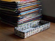 DIY Weaving baskets with newspaper