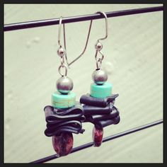 Recycled Bicycle bike Tube Earrings with by maybirdjewelry on Etsy, $18.00