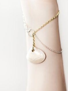 Clamp Bracelet Porcelain Jewel Silver