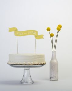 LOVE simple cake, topper, flowers