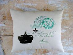 Fleur de Lis Pillow, French Script, Paris, French Country Home, Cottage Decor, French Decor
