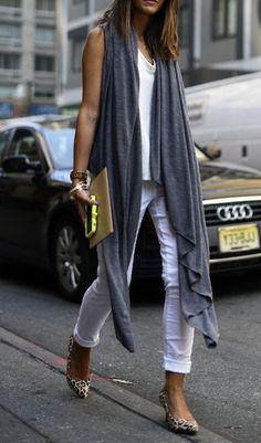 White pants. Navy charcoal long cari