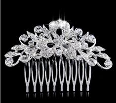TREAZY Leaf Flower Crystal Bridal Hair Combs for Women Wedding Hair Jewelry Hair Accessories Diamante Rhinestone Slide Clip Hair Accessories For Women, Wedding Hair Accessories, Hair Jewelry, Bridal Jewelry, Jewelry Sets, Jewellery, Hair Comb Clips, Hair Combs, Barrettes