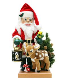 Santa Nutcracker & Deer Figurine Set
