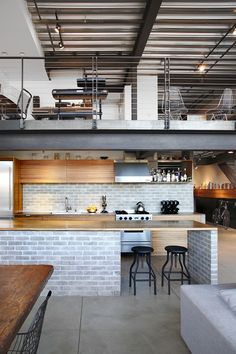 The loft is made up of a succession of spaces which have been custom-designed as a way to reply to the customer's requirements. In addition to the vast interior spaces, it also has a beautiful roof terrace. Originally loft usually… Continue Reading → Industrial House, Industrial Interiors, Vintage Industrial, Industrial Style, Industrial Design, Industrial Bedroom, Industrial Furniture, Industrial Office, Kitchen Industrial