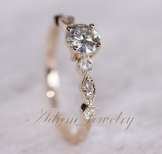 Fancy VS Moissanite Ring VS Accent Diamonds 14K Yellow Gold Wedding Ring/ Engagement Ring / Promise Ring on Etsy, $399.00