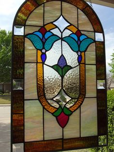 Victorian Stained Glass Window Panel with Bevels | eBay