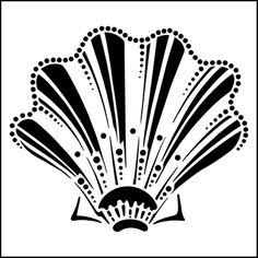 Shell No 3 stencil from The Stencil Library MODERN DESIGN range. Buy stencils online. Stencil code MD83.