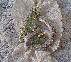Vintage Brooch Rhinestone and Mesh Rope by cynthiasattic on Etsy, $39.00