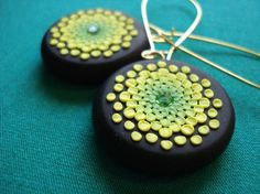 These earrings are made even cooler when you learn that they're made with tiny dots of polymer clay!