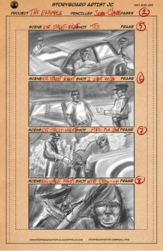 """My latest storyboard work for a client in Texas. For a short film """"The Example"""" based on true events."""