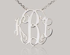Monogram necklace - 0.8 inch Personalized Monogram - 925 Sterling silver. $29.99, via Etsy.