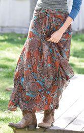 Skirts in a bohemian pattern.