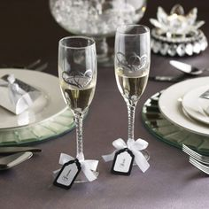 Michaels.com Wedding Department: DIY Bling Toasting Flutes with Tags Give rise to your creativity! Take your toast up a notch with these chic bling-it-yourself toasting glasses.