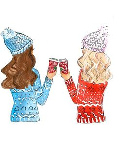Best Friends Illustration, Christmas Gift For Best Friend, Sister Gift, Holiday Gift for BFF, Best F Bff Pics, Bff Pictures, Best Friend Drawings, Bff Drawings, Best Friend Sketches, Best Friends Forever, Illustration Amis, Watercolor Illustration, Illustration Fashion