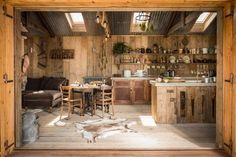 Rustic and romantic, Firefly cabin has the timeworn patina and rough charm of an old carpenter's workshop.Winding through North Cornwall's country lanes discover this authentic woodcutter's cabin tucked away in a hidden corner of Trebudannon, a t Cabin Kitchens, Rustic Kitchens, Kitchen Rustic, Kitchen Ideas, Kitchen Small, Wooden Kitchen, Tiny Cabins, Cabin Interiors, Cabin Homes