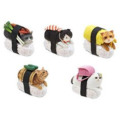 """""""Nekozushi"""" Sushi Cat Blind Box Figure (Clever Idiots Inc. Version). Cats + Sushi = """"Nekozushi"""". The Most Awesome Mythical Creatures Ever!. Please note: You will get only 1 of the 5 characters in the picture. Collect all 5 different Sushi Cats!. Each Blind Box includes one Sushi Cat mini-figure which comes with a detachable key ring. Product Dimensions: Approx. H1.38"""" x L1.57"""" x W0.79"""" (H3.5cm x L4cm x W2cm). Officially licensed product by Tange & Nakimushi Peanuts. """"WHAT IS A BLIND BOX?…"""