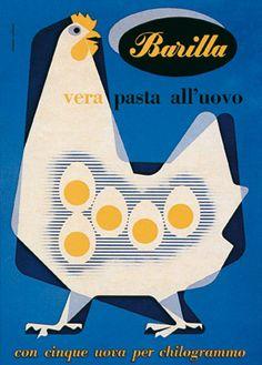 Like: shape, minimalism. [Advertising poster for Barilla by Italian graphic & industrial designer Erberto Carboni via tiragraffi] Vintage Graphic Design, Retro Design, Graphic Design Illustration, Graphic Design Inspiration, Bird Graphic, Retro Poster, Poster Vintage, Vintage Advertisements, Vintage Ads
