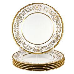 Royal Doulton Raised gold enamel plates. England, 1901-1922