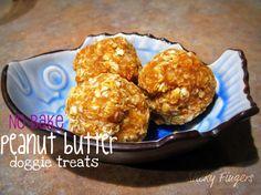 No-Bake peanut butter doggie treats  3 ingredients: Pnut butter, milk, oats  Super Easy !!