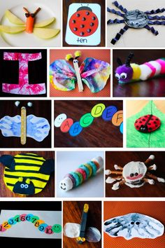 Insect craft ideas. Love the watercolor butterfly, the fruit loops caterpillar and the chocolate chips lady bug!