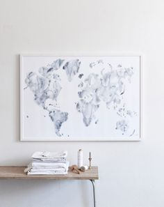 """Blue world"" art print is printed on 200 g Multidesign white paper.  ""The Blue world map is about getting an overview and to see the world as a  whole. We are all living on the same planet and we live our lives in the  same nature that is why we have to appreciate it and take good care of it."
