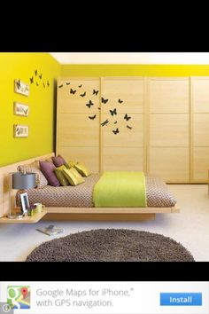 Love the low bed and the butterflies