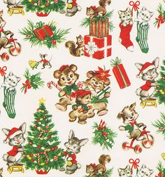 Vintage Christmas Wrap Cute Critters - NoëL / Illustrations et Cartes - Vintage Christmas Wrapping Paper, Vintage Christmas Images, Christmas Gift Wrapping, Vintage Holiday, Christmas Pictures, Christmas Scenes, Noel Christmas, Christmas Paper, Retro Christmas